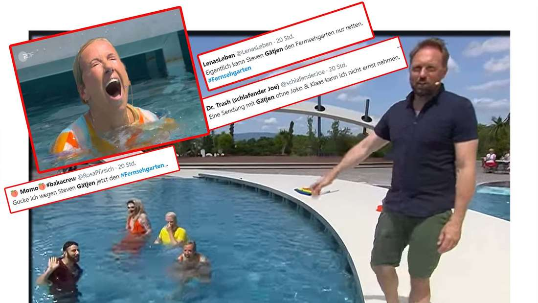 Fotomontage: Andrea Kiewel und Steven Gätjen im ZDF-Fernsehgarten, davor Screenshots von Twitter