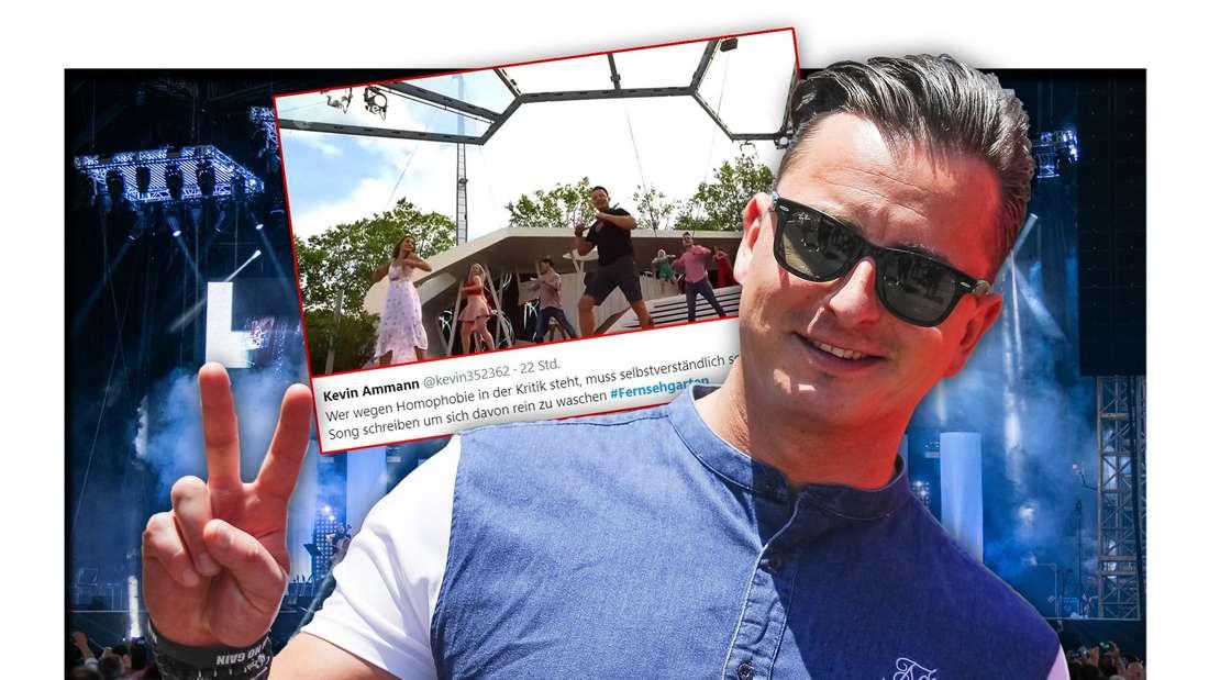 Schlagerstar und 'Volks-Rock 'n' Roller' Andreas Gabalier vor einem Foto seine ZDF-Fernsehgarten-Auftritts und einem Tweet (Fotomontage)