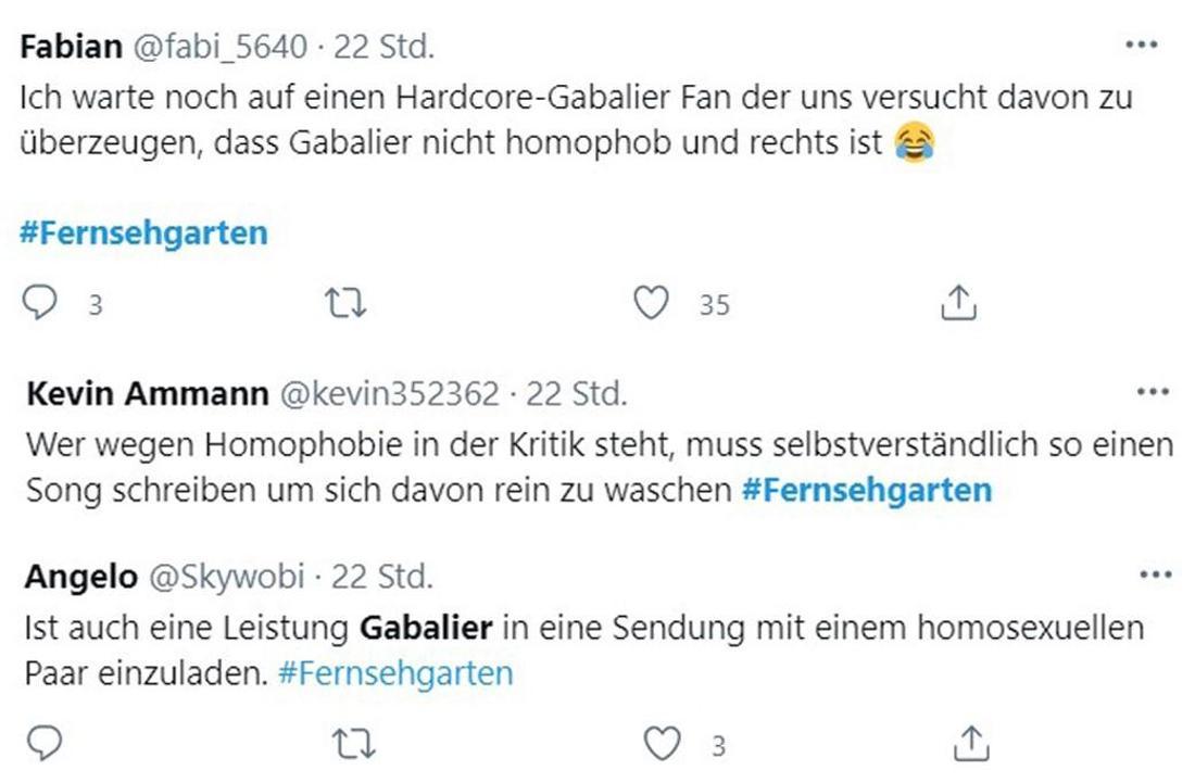 Tweets zum Aufritt von Andreas Gabalier im ZDF-Fernsehgarten