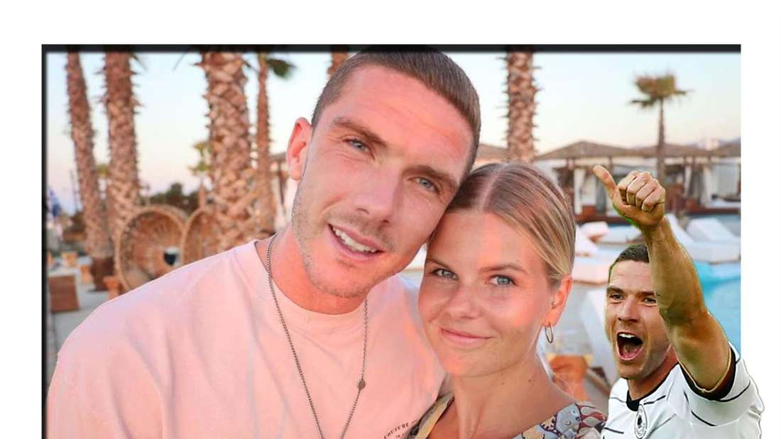 Fotomontage: Robin Gosens mit seiner Freundin Rabea, davor er beim Länderspiel gegen Lettland