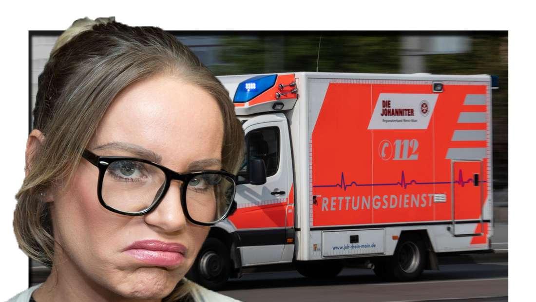 Gina-Lisa Lohfink schaut traurig in die Kamera - im Hintergrund ist ein RTW zu sehen (Fotomontage)