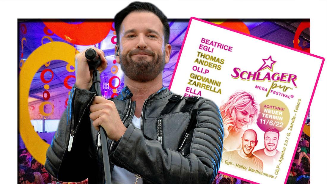 """Fotomontage: Michael Wendler vor Schlagerparty und """"Schlager-pur"""" Line-up"""