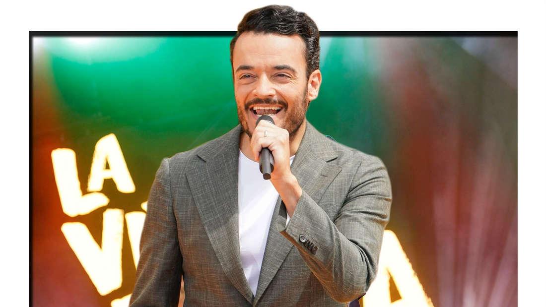"""Fotomontage: Giovanni Zarrella singt auf einer Bühne mit Schriftzug """"La Vita E Bella"""""""