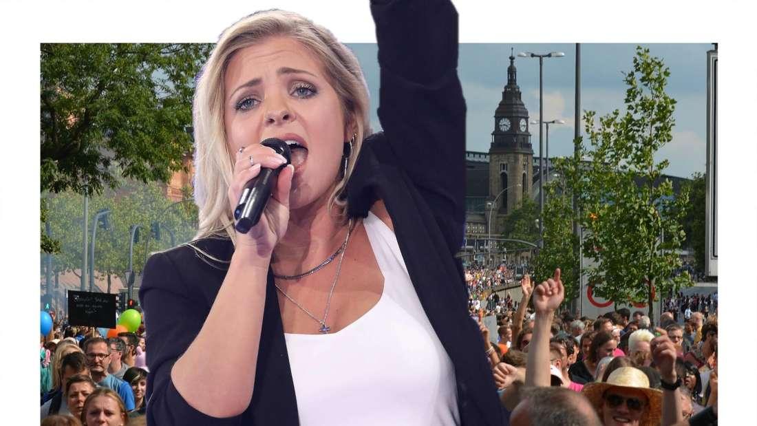 Marina Marx in kämpferischer Pose vor einer Demo. (Fotomontage)
