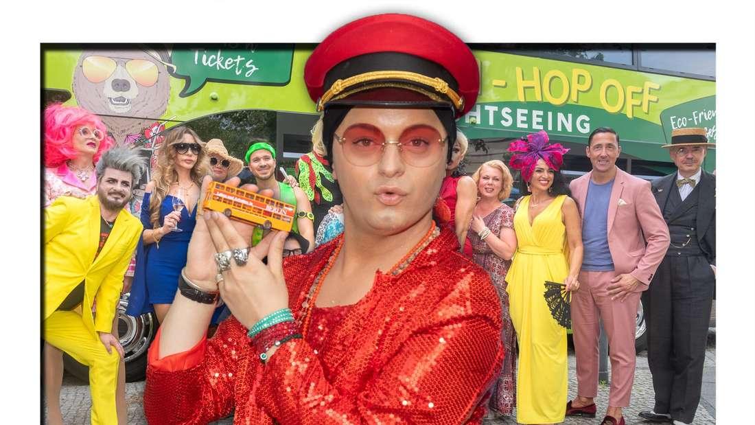 Entertainer und Schauspieler Julian F.M. Stoeckel steht mit mehreren Promis bei dem Re-Opening des Berliner Tourismus