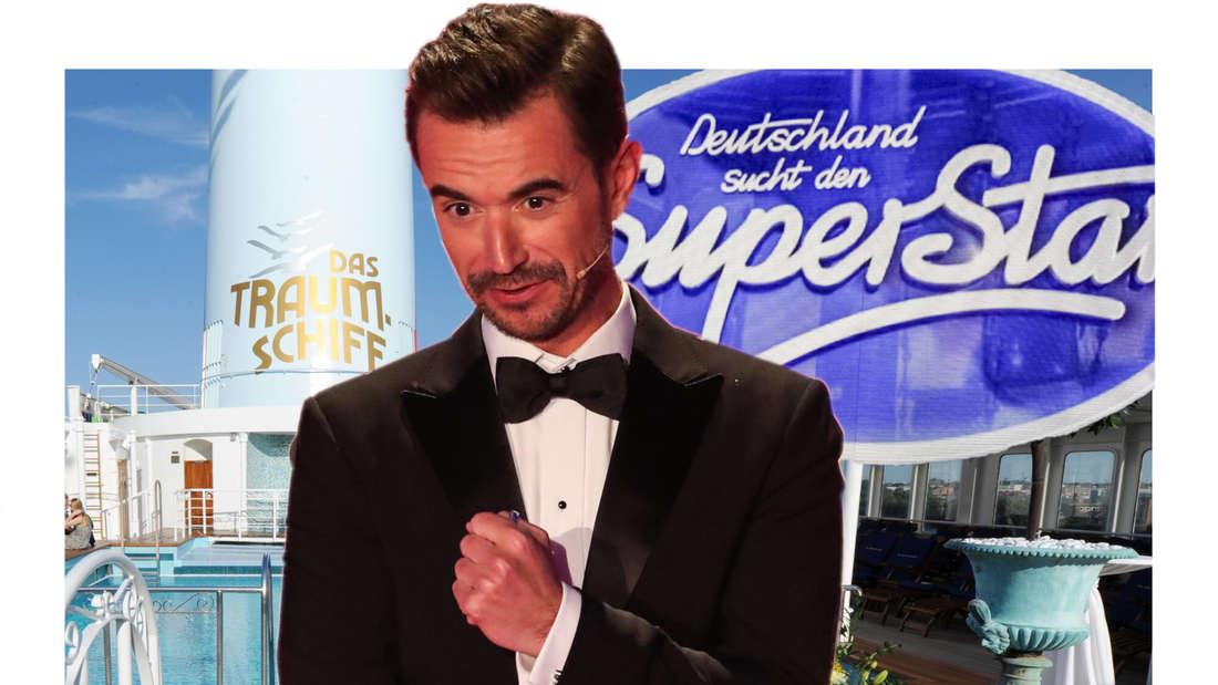 Florian Silbereisen steht zwischen dem Logo des von DSDS und dem vom ZDF-Traumschiff (Fotomontage)