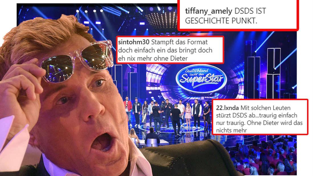 Dieter Bohlen hat den Mund weit aufgerissen, dahinter ist die DSDS-Bühne zu sehen (Fotomontage)
