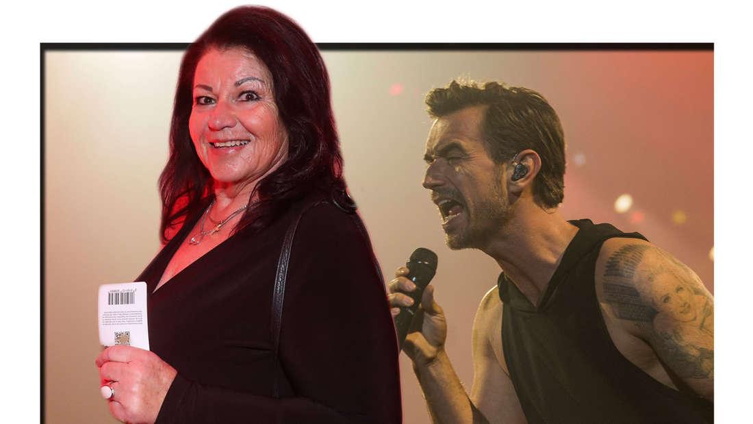 Helga Silbereisen im Vordergrund, dahinter Florian Silbereisen, singend bei einem Konzert (Fotomontage)