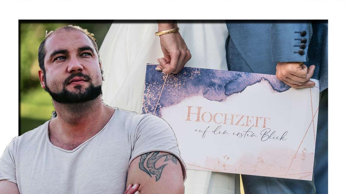 """Philipp schaut nach oben - hinter ihm ist das """"Hochzeit auf den ersten Blick""""-Logo zu sehen (Fotomontage)"""