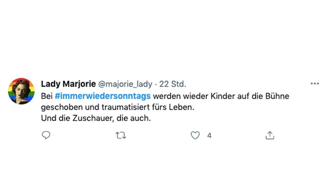 """Tweet zu """"Immer wieder sonntags"""" vom 27. Juni 2021: Fans prangern Stefan Mross und sein Verhalten gegenüber der 7-Jährigen Jara an."""