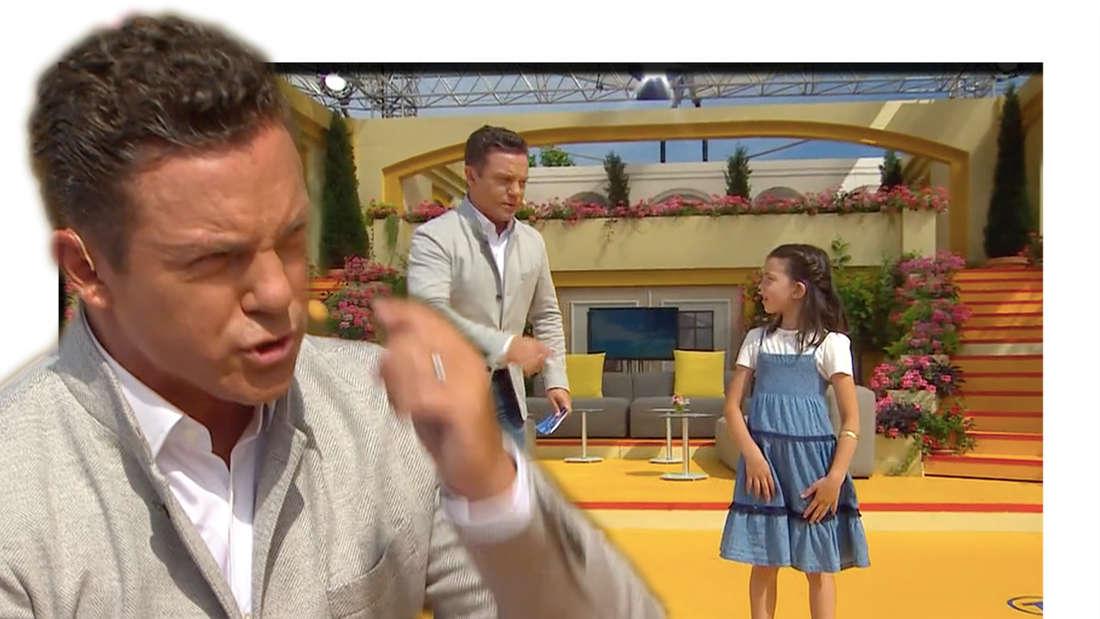 """Stefan Mross und die 7-Jährige Jara auf der """"Immer wieder sonntags-Bühne am 27. Juni 2021 (Fotomontage)"""