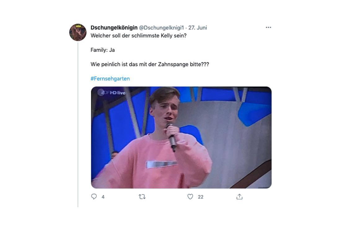 Ein Tweet als Reaktion auf Iggi Kellys Auftritt im ZDF-Fernsehgarten am 27. Juni 2021