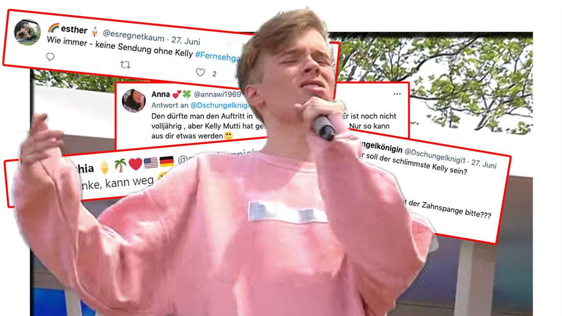 """Iggi Kelly - Sohn von Patricia Kelly - singt im ZDF-Fernsehgarten seine neue Single """"Trash"""" am 27. Juni 2021. Zuschauer twittern ihre Reaktionen auf Iggi Kellys neuen Song. (Fotomontage)"""