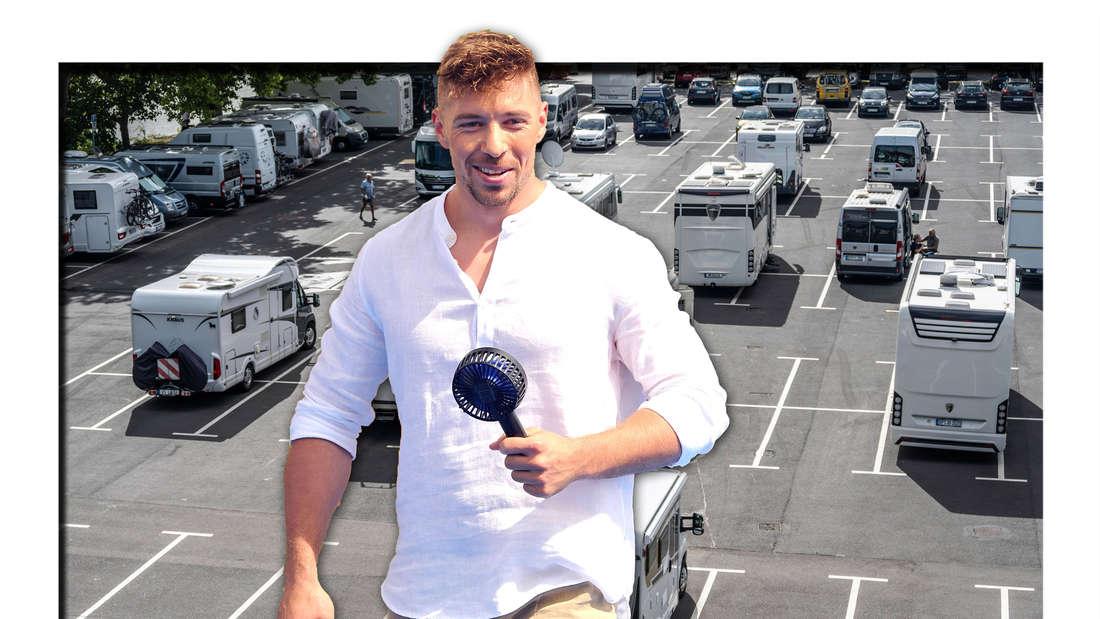Schlagersänger und DSDS-Sieger Ramon Roselly vor einem Parkplatz mit Wohnwägen (Fotomontage)