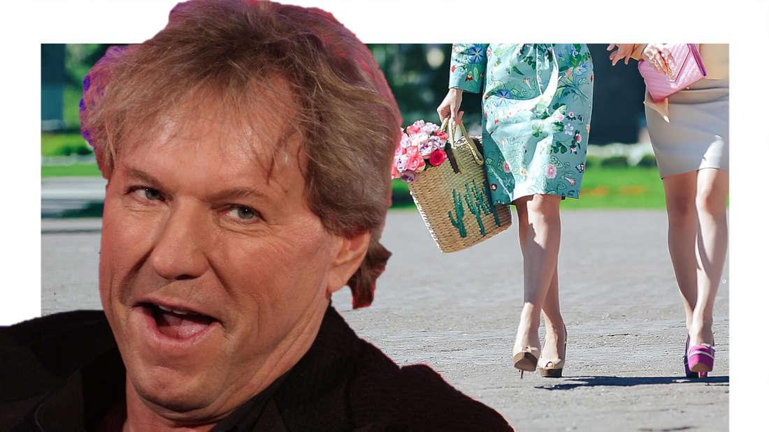 Bernhard Brink, im Hintergrund sieht man zwei Frauen eine Straße entlang laufen. (Fotomontage)