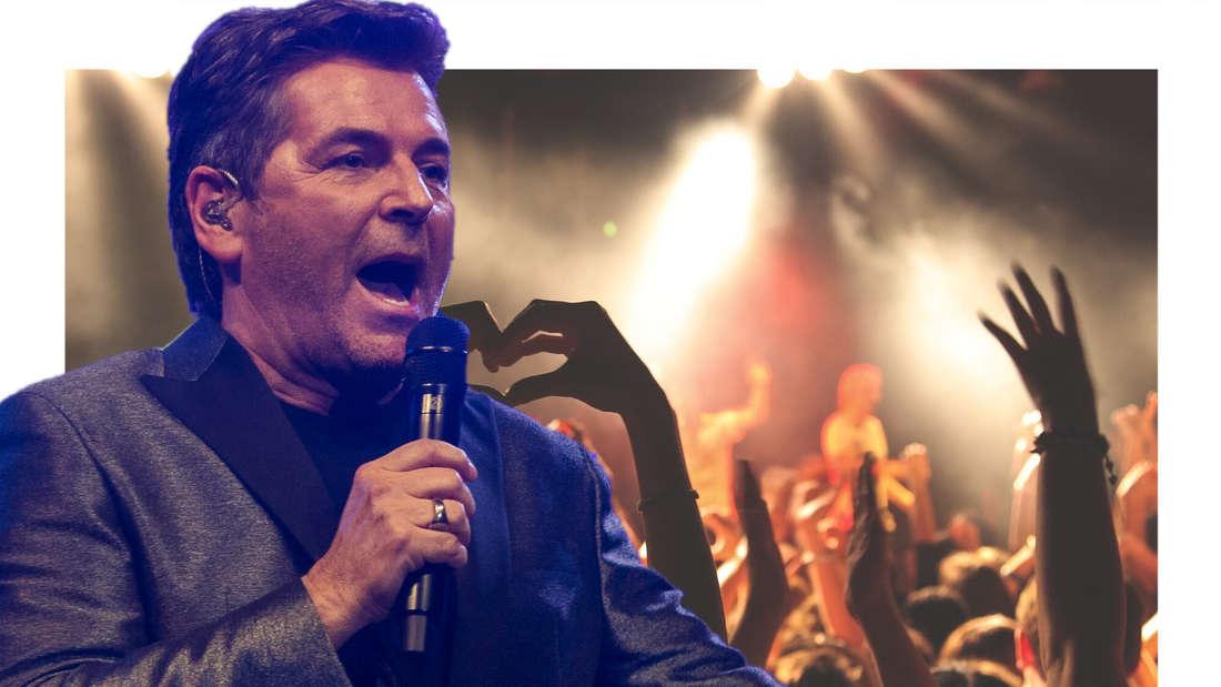 Thomas Anders, im Hintergrund Konzert-Publikum (Fotomontage)
