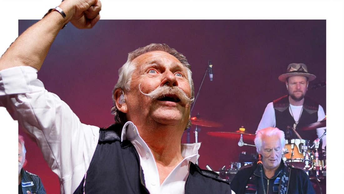 Henning Krautmacher jubelnd, dahinter die Band Höhner. (Fotomontage)