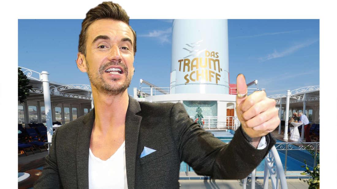 Florian Silbereisen gibt sein OK-Zeichen, im Hintergrund das ZDF-Traumschiff. (Fotomontage)