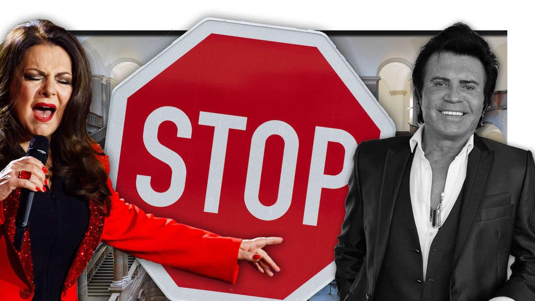 Die Schlagerstars Marianne Rosenberg und Costa Cordalis vor einem Stoppschild, dahinter das Landgericht München (Fotomontage)