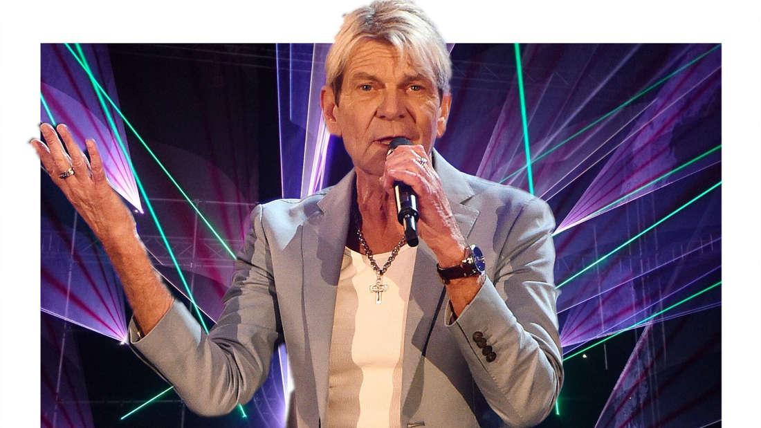 Mathias Reim vor einer Lasershow dabei hält er ein Mikro in der Hand und zuckt mit den Schultern. (Fotomontage)