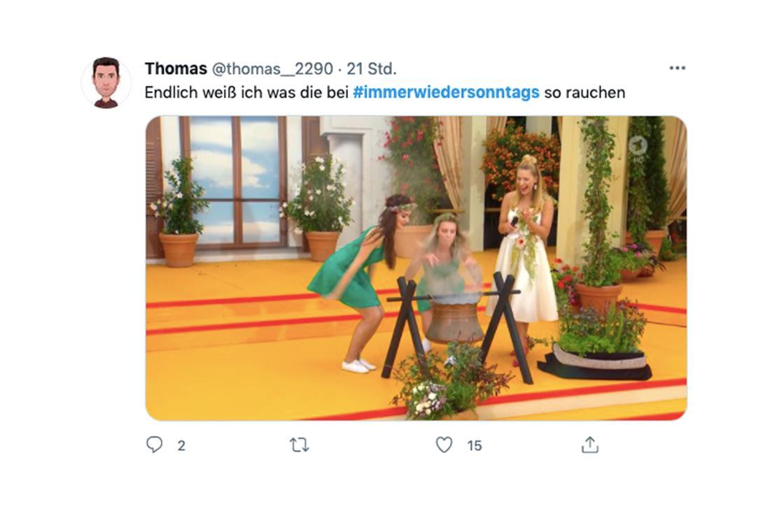 """Tweet zu Stefanie Hertels Auftritt bei """"Immer wieder sonntags"""""""