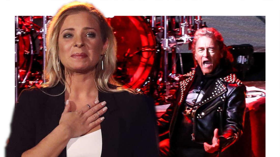 Marina Marx schaut ergriffen, im Hintergrund rockt Peter Maffay bei einem seiner Konzerte. (Fotomontage)