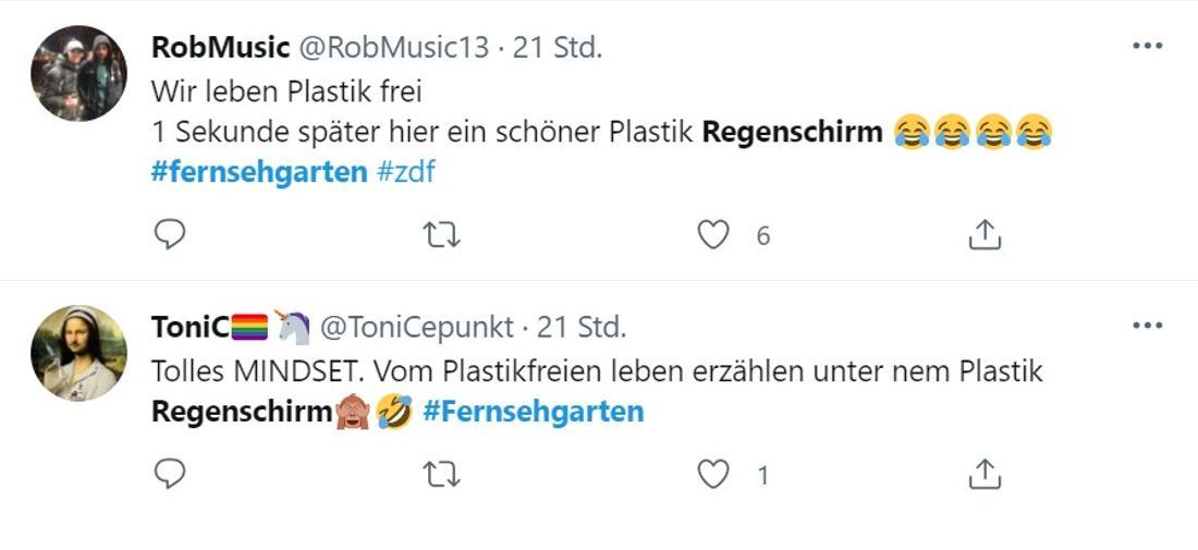 Screenshot zweier Twitter-Kommentare zu Andrea Kiewels Doppelmoral