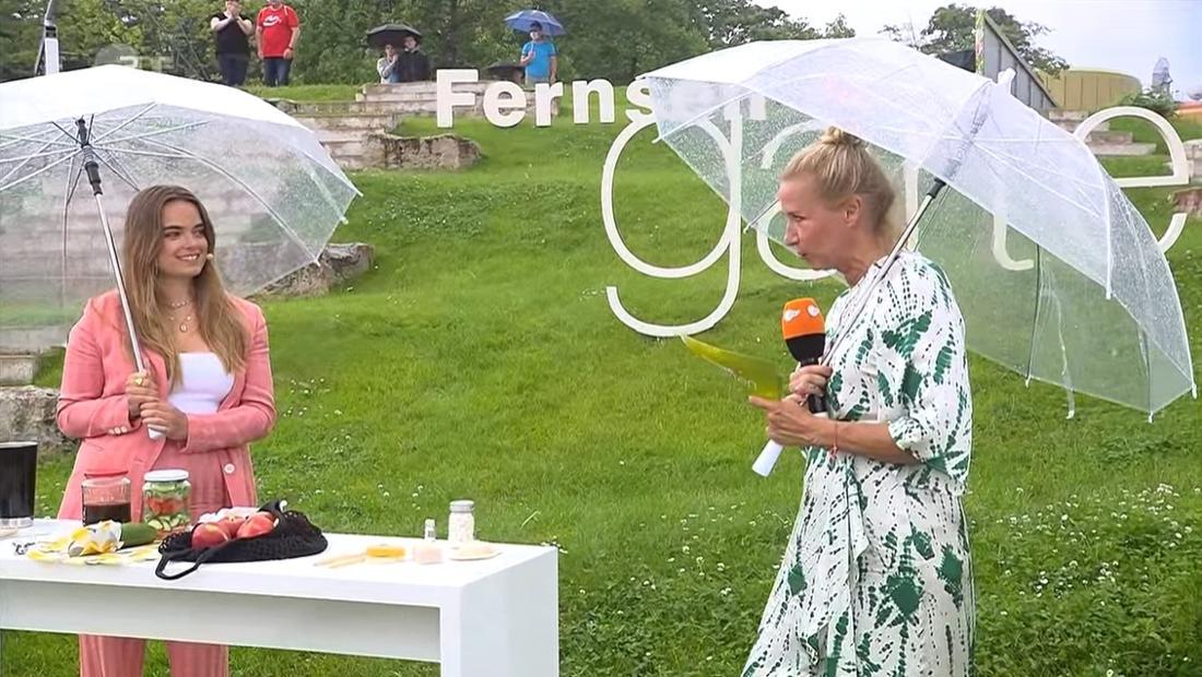 Charlotte Schüler und Andrea Kiewel halten Regenschirm