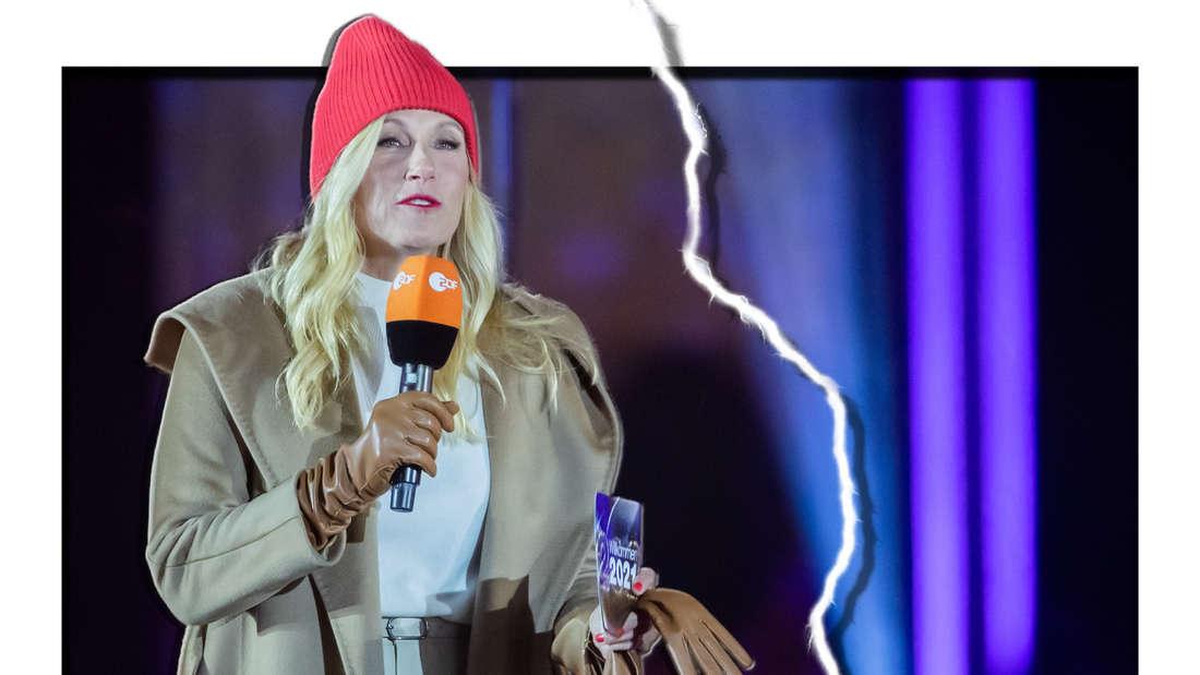 Andrea Kiewel hält Moderationskarten und ein Mikrofon - daneben sieht man einen Blitz (Fotomontage)