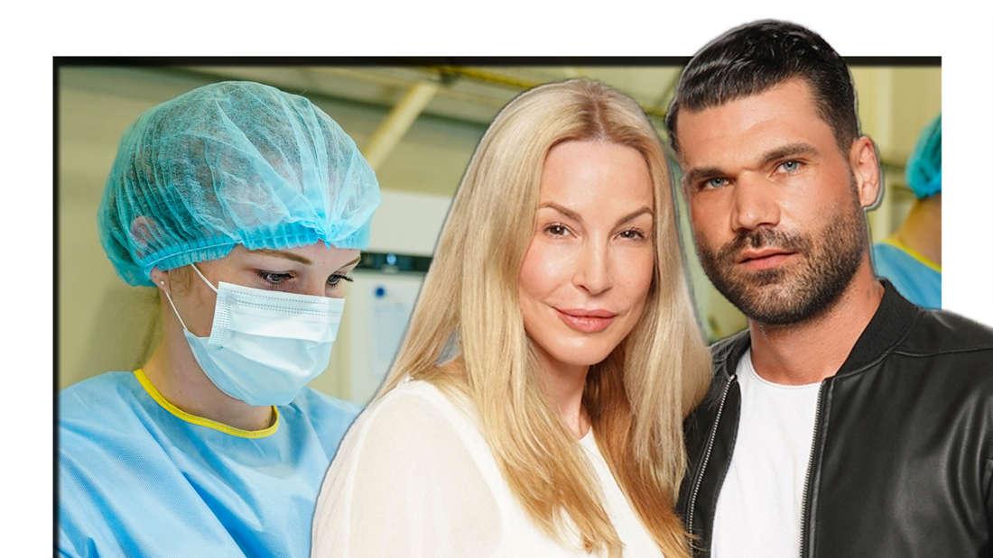 Michelle Monballijn und Mike Cees-Monballij posieren für RTL, dahinter ist eine Ärztin zu sehen (Fotomontage)