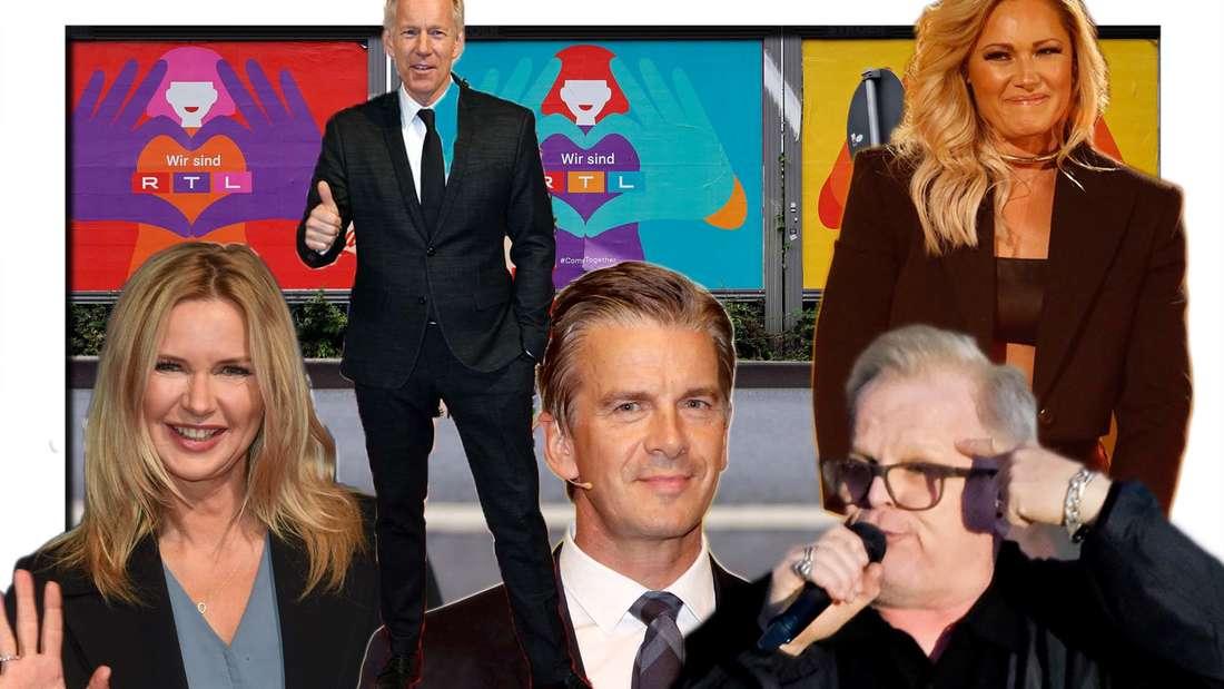 Fotomontage: RTL-Plakatwand, davor Veronica Ferres, Johannes B Kerner, Markus Lanz, Helene Fischer, Herbert Grönemeyer