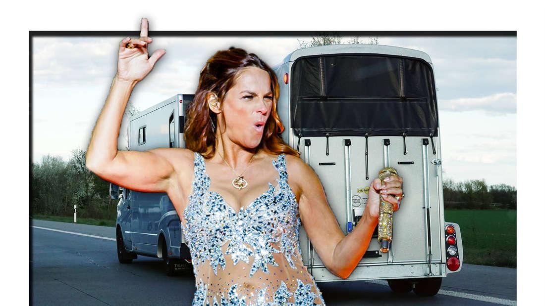 Ein Anhänger im Hintergrund, Andrea Berg im Glitzer-Kostüm macht eine tanzende Bewegung (Fotomontage)