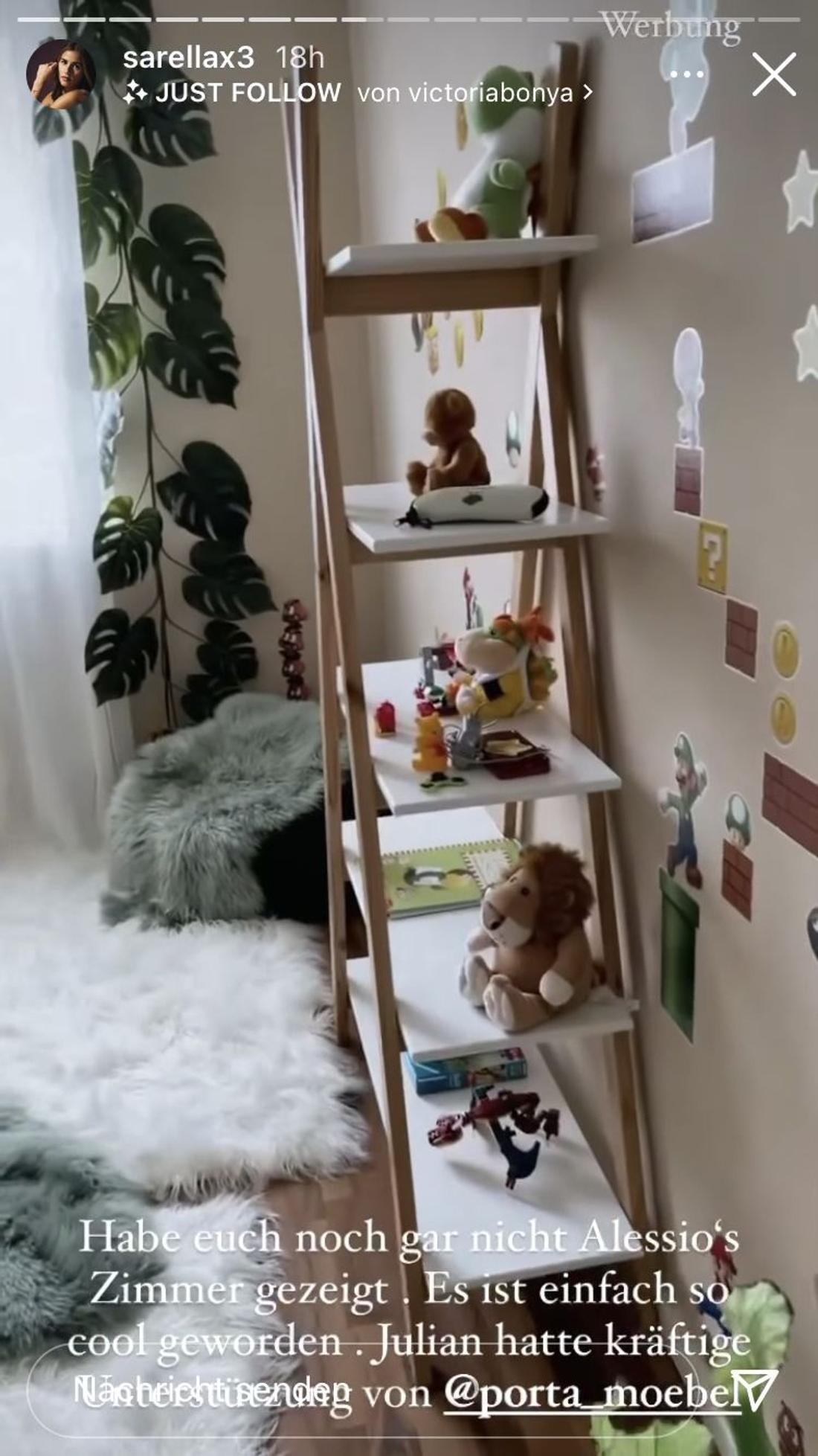 Sarah Engels zeigt das Zimmer von Sohn Alessio