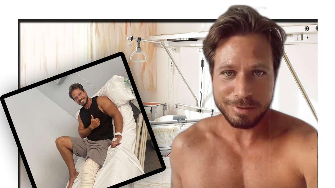 Fotomontage: Sebastian Pannek im Krankenhaus mit bandagiertem Bein