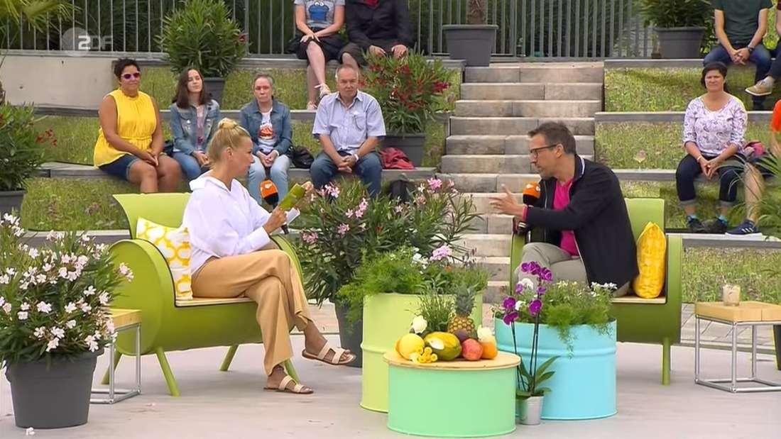 "Andrea Kiewel interviewt ""Wiso""-Moderator Marcus Niehaves im ZDF-Fernsehgarten"