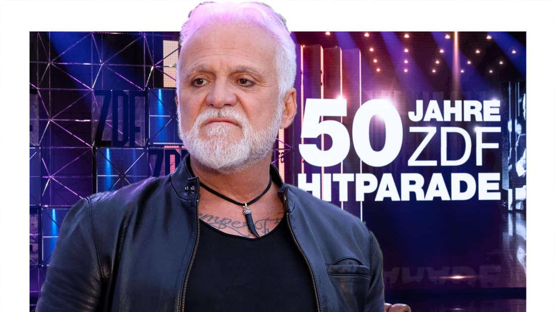 Nino de Angelo schaut grimmig, im Hintergrund das Hitparaden-Studio (Fotomontage)