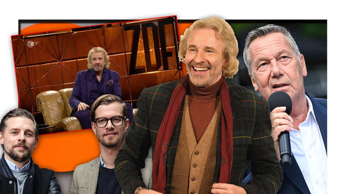 Thomas Gottschalk, Schlagersänger Roland Kaiser und die ProSieben-Stars Joko und Klaas neben einem Screenshot aus der ZDF-Hitparade (Fotomontage)