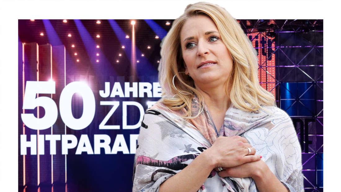 Stefanie Hertel schaut unerfreut, im Hintergrund das ZDF-Hitparaden-Studio. (Fotomontage)