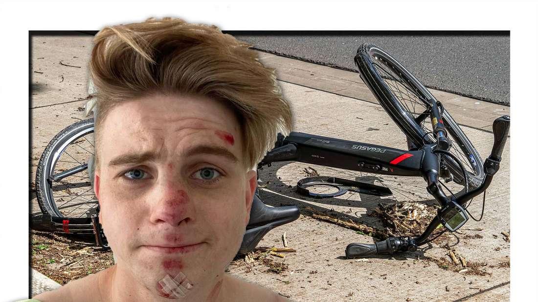 Vincent Gross mit Wunden im Gesicht, ein Fahrrad auf dem Bürgersteig (Fotomontage)