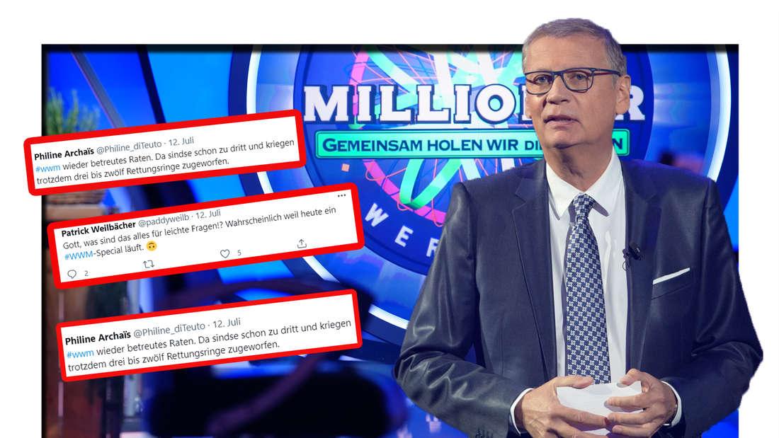 Günther Jauch schaut in die Kamera - dahinter ist das WWM-Logo zu sehen (Fotomontage)
