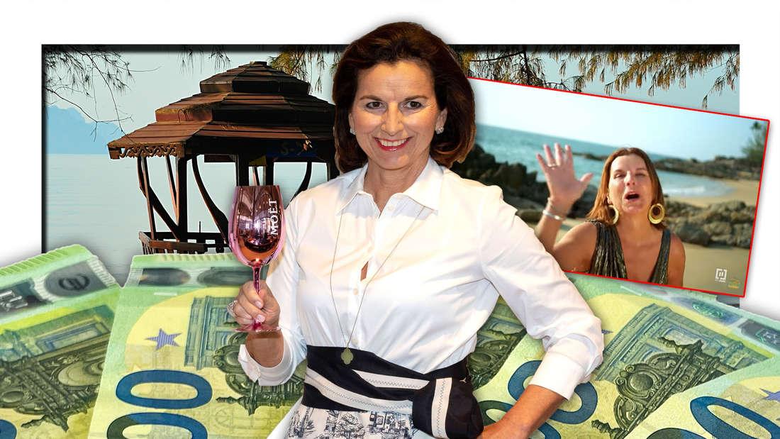 """""""Kampf der Realitystars""""-Teilnehmerin Claudia Obert vor 100 Euro-Scheinen, dahinter ein Strand in Thailand (Fotomontage)"""
