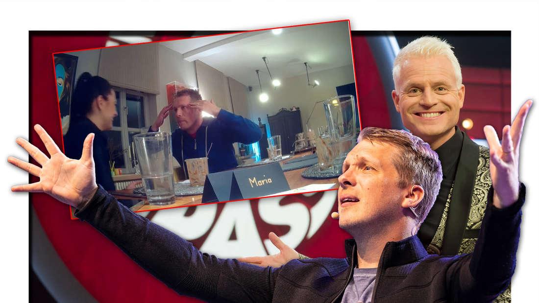 """Oliver Pocher steht neben """"Verstehen Sie Spaß""""-Moderator Guido Cantz und einem Screenshot, welcher den Comedian und Ehefrau Amira zeigt (Fotomontage)"""