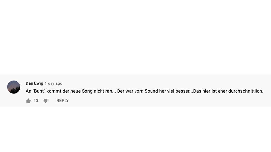 """Kommentar unter dem neuem Musikvideo """"Alles was du brauchst"""" von Beatrice Egli"""