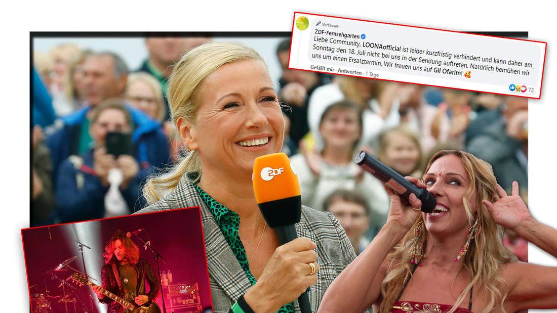 ZDF-Fernsehgarten-Moderatorin Andrea Kiewel, Popsängerin Loona und Rockmusiker Gil Ofarim neben einem ZDF-Facebook-Post (Fotomontage)