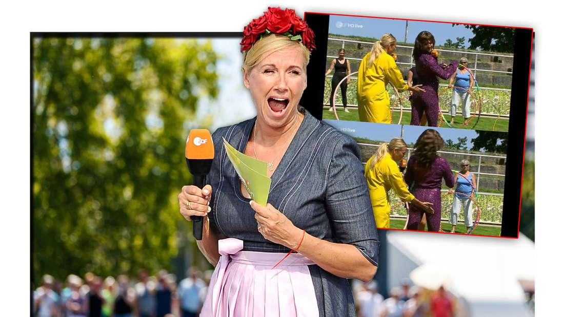 ZDF-Fernsehgarten-Moderatorin Andrea Kiewel neben zwei Screenshots, die sie gemeinsam mit Riccardo Simonetti zeigen (Fotomontage)
