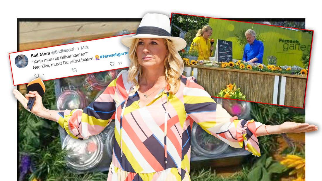 ZDF-Fernsehgarten-Moderatorin Andrea Kiewel steht vor zwei Screenshots aus der Sendung, daneben ein Twitter-Beitrag (Fotomontage)