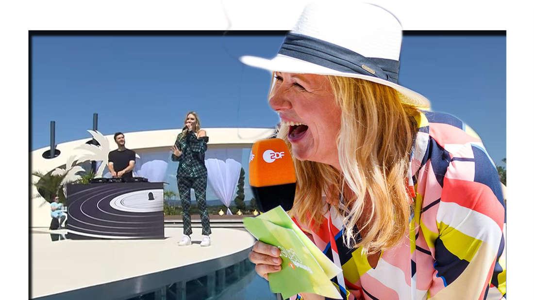 Fotomontage: Andrea Kiewel lacht, im Hintergrund Glasperlenspiel im ZDF Fernsehgarten