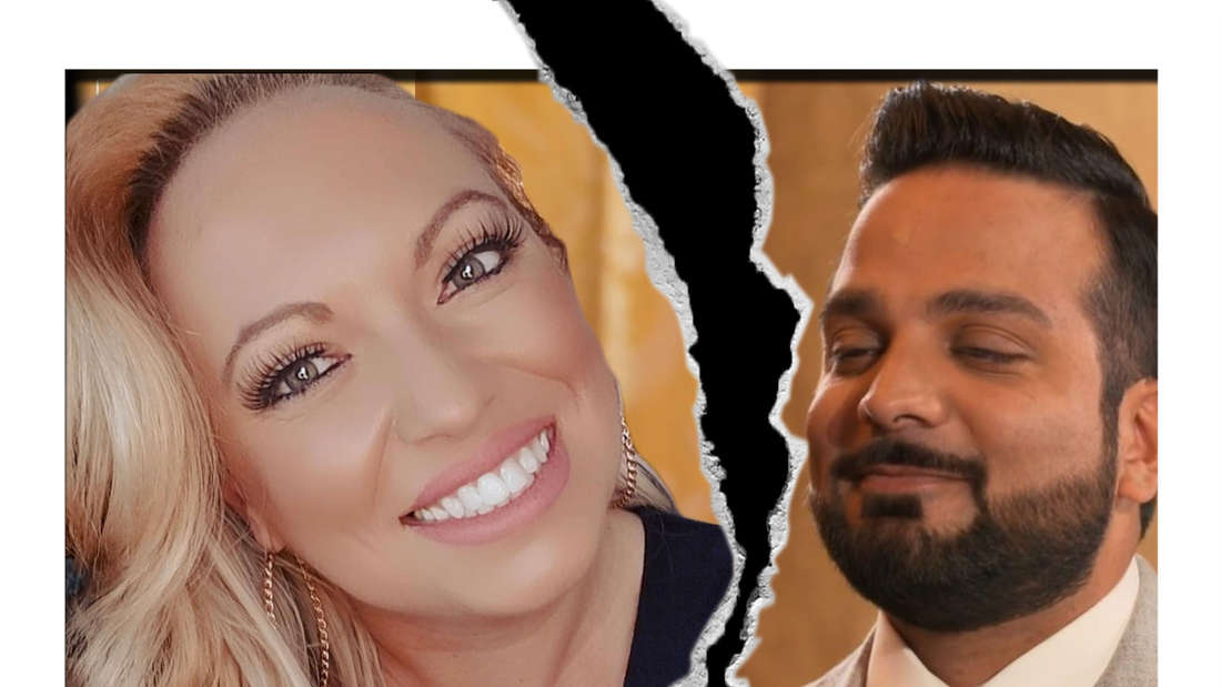 """Fotomontage: """"5 Senses for Love"""" Kandidaten Nicole und Sahand getrennt durch Trennungsriss"""