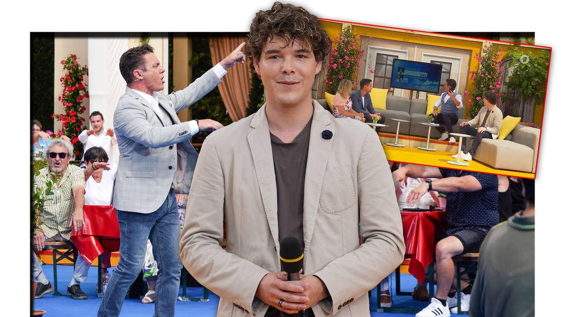 "Schlagersänger Simon Broch steht neben ""Immer wieder sonntags""-Moderator Stefan Mross, daneben ein Screenshot der Show (Fotomontage)"
