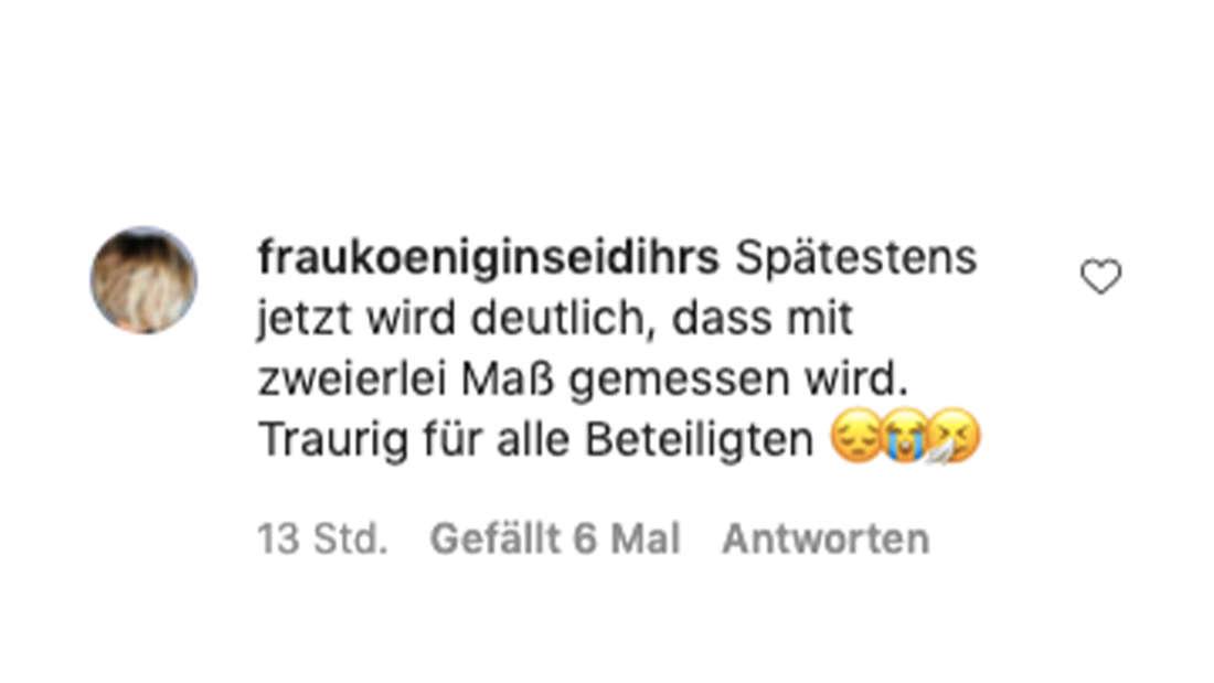 Instgram-Kommentar zum Post von Semmel Concerts vom 19. Juli 2021: Die Kaisermania wird für 2021 abgesagt